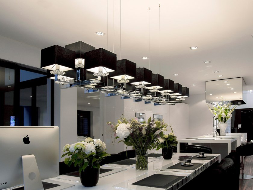 Direct-indirect light metal pendant lamp with Swarovski® Crystals SWINGING BALLET H23 by ILFARI