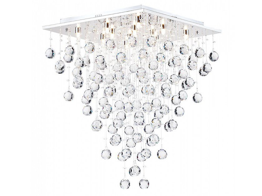 Metal ceiling lamp with crystals SWIRL by MAYTONI