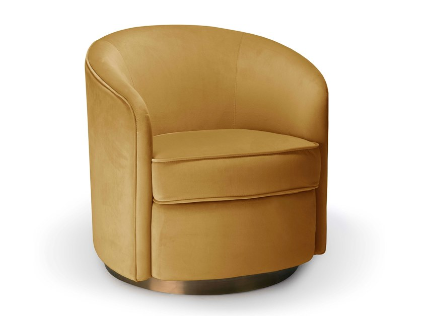 Swivel velvet armchair with armrests SWIVEL by Notre Monde
