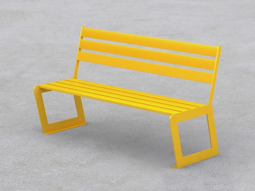 Steel Bench with back SYD | Bench by LAB23 Gibillero Design