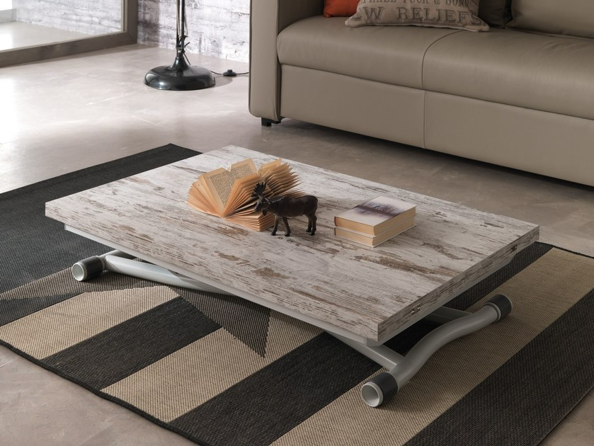 Height-adjustable rectangular coffee table SYDNEY LONG by Ozzio Italia