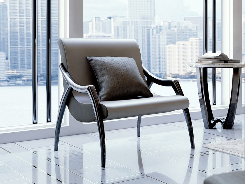 Leather easy chair with armrests SYMPHONY | Easy chair by Bizzotto