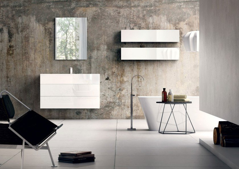 Lacquered wall-mounted vanity unit with mirror SYN 02 by LASA IDEA