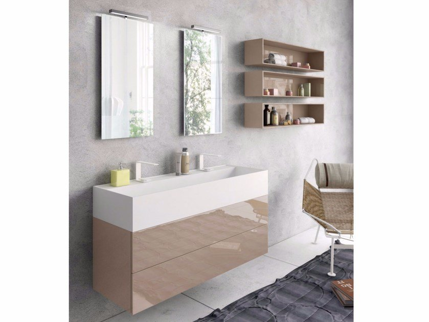 Lacquered wall-mounted vanity unit with mirror SYN 04 by LASA IDEA