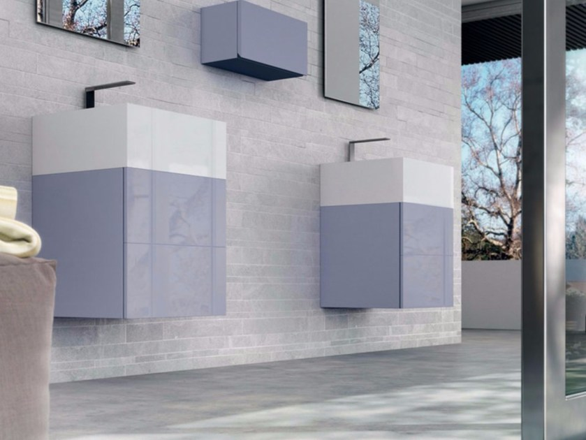 Lacquered single wall-mounted vanity unit SYN 06 by LASA IDEA