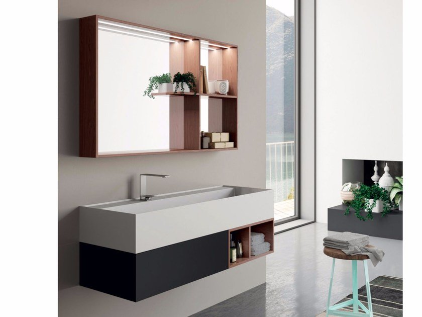 Lacquered wall-mounted vanity unit with mirror SYN 12 by LASA IDEA