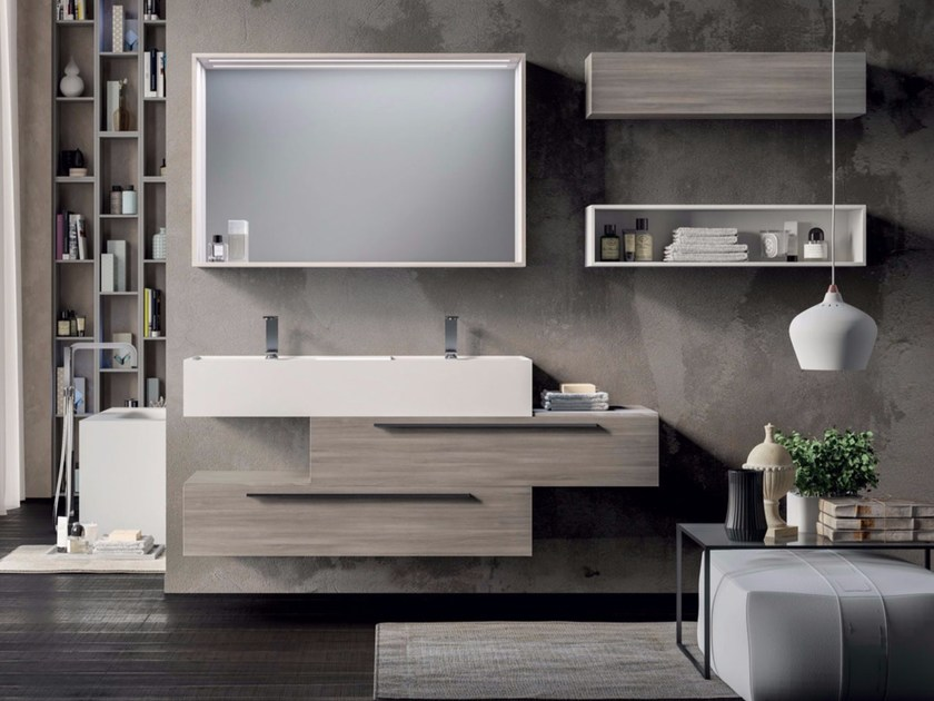 Wall-mounted vanity unit with mirror SYN 13 by LASA IDEA