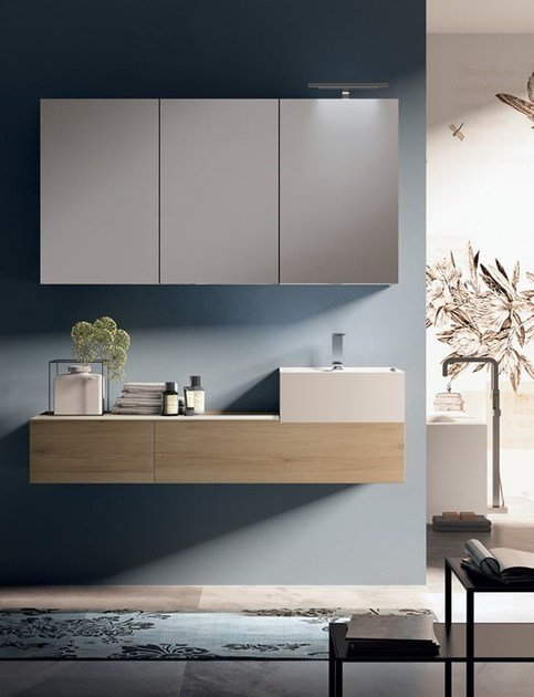 Lacquered wall-mounted vanity unit with mirror SYN 11 by LASA IDEA