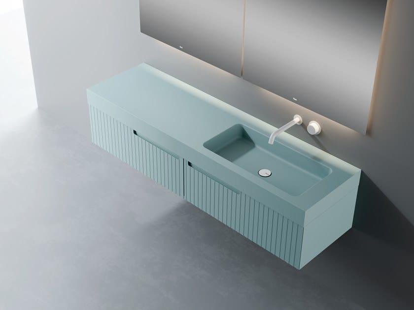 Mobile lavabo singolo sospeso con top in Silexpol® SYNERGY | Mobile lavabo by Fiora