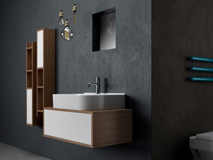 Tall wooden bathroom cabinet SYNTHESIS | Bathroom cabinet by Olympia Ceramica
