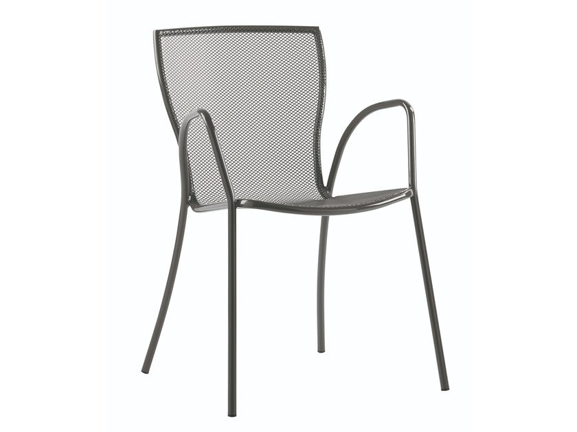 Stackable galvanized steel chair with armrests SYRENE 2 by RD Italia