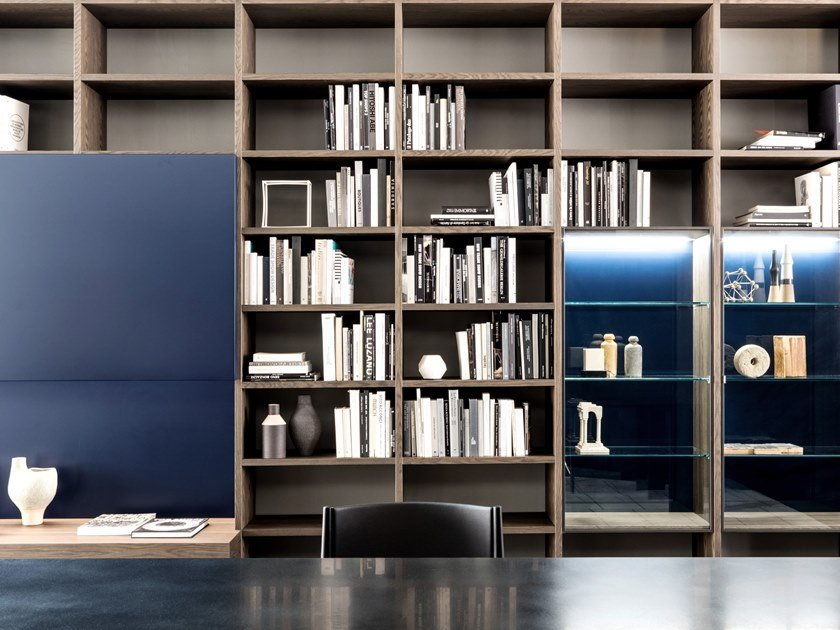 Libreria a parete in noce SYSTEM 2018 by Porro