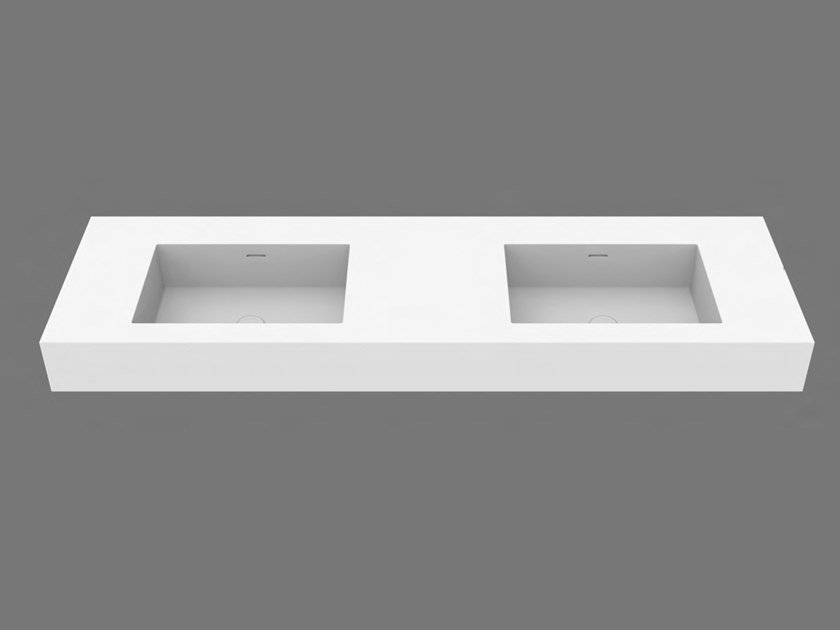Rectangular wall-mounted washbasin with integrated countertop SYSTEM DESK 50 D by DIMASI BATHROOM