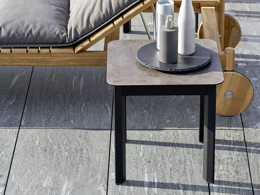 Contemporary style square wood-product garden side table SYSTEM | Square coffee table by Varaschin