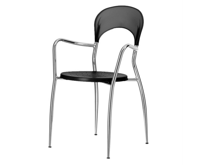 Stackable chair with armrests Sandy 078 by Metalmobil