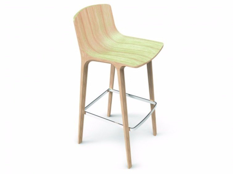 Multi-layer wood stool with footrest SEAME | Stool by Infiniti