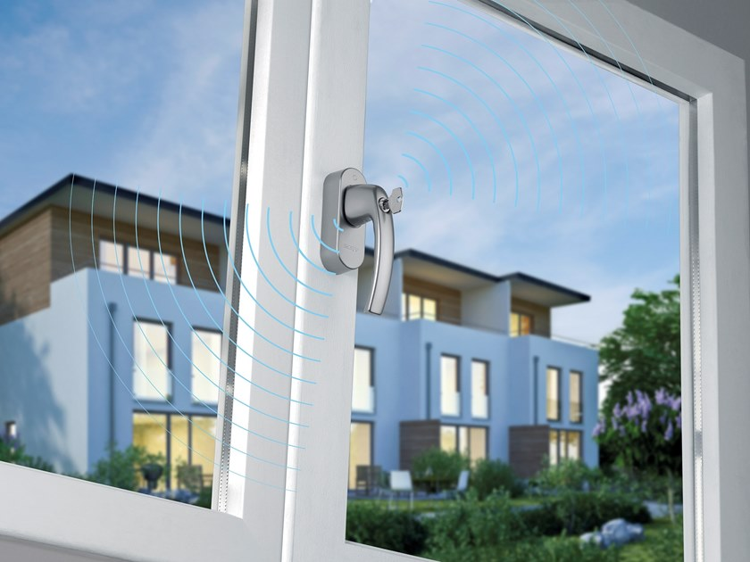 DK aluminium window handle with lock SecuSignal® by HOPPE