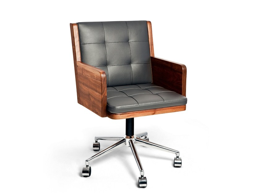 Leather task chair with 5-Spoke base OFFICE CHAIR by KONTRA