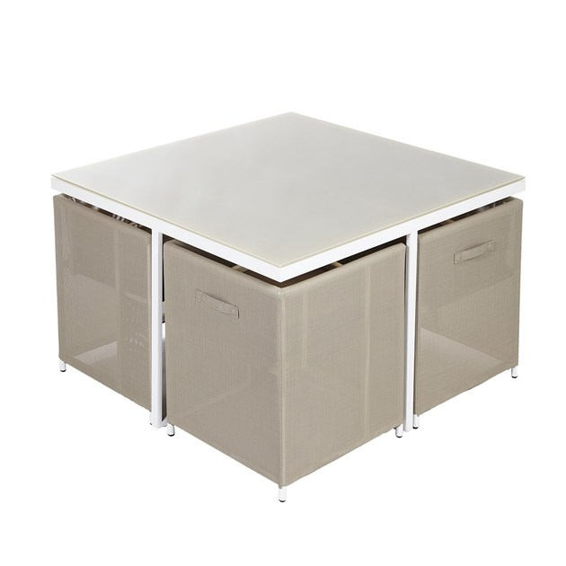 Stackable square aluminium garden table Set Poker by Mediterraneo by GPB