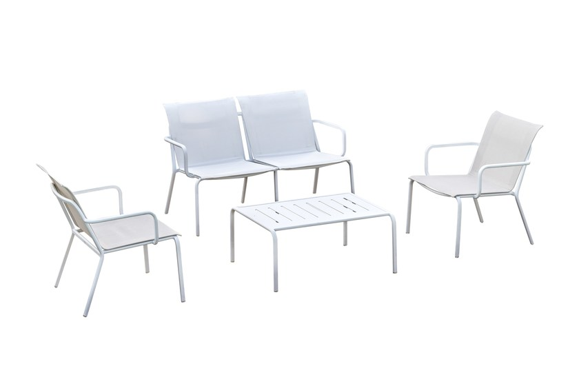 Contemporary style stackable aluminium garden chair Set Alfa by Mediterraneo by GPB