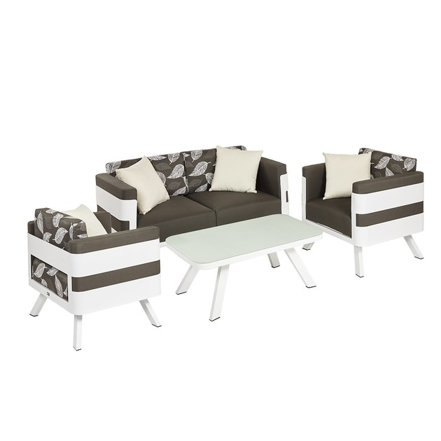 Contemporary style upholstered metal garden armchair with armrests Set Giglio by Mediterraneo by GPB