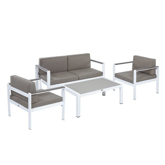 Contemporary style garden aluminium guest chair with armrests Set Narciso by Mediterraneo by GPB