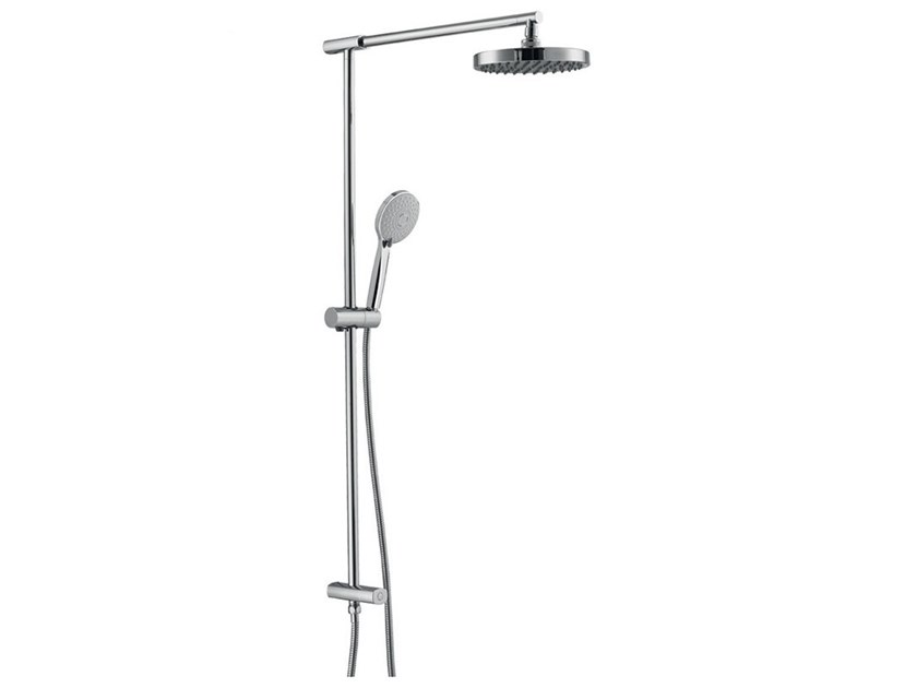 Wall-mounted brass shower panel with hand shower SHOWER 10920 by I Crolla Rubinetterie