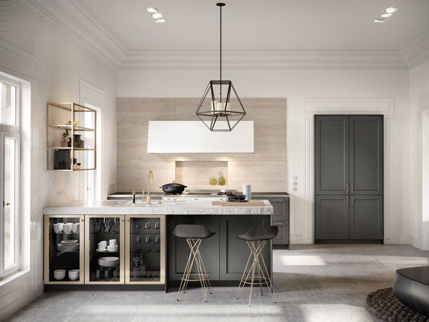 Steel and wood kitchen with peninsula SieMatic CLASSIC - SE 2002 RF by SieMatic