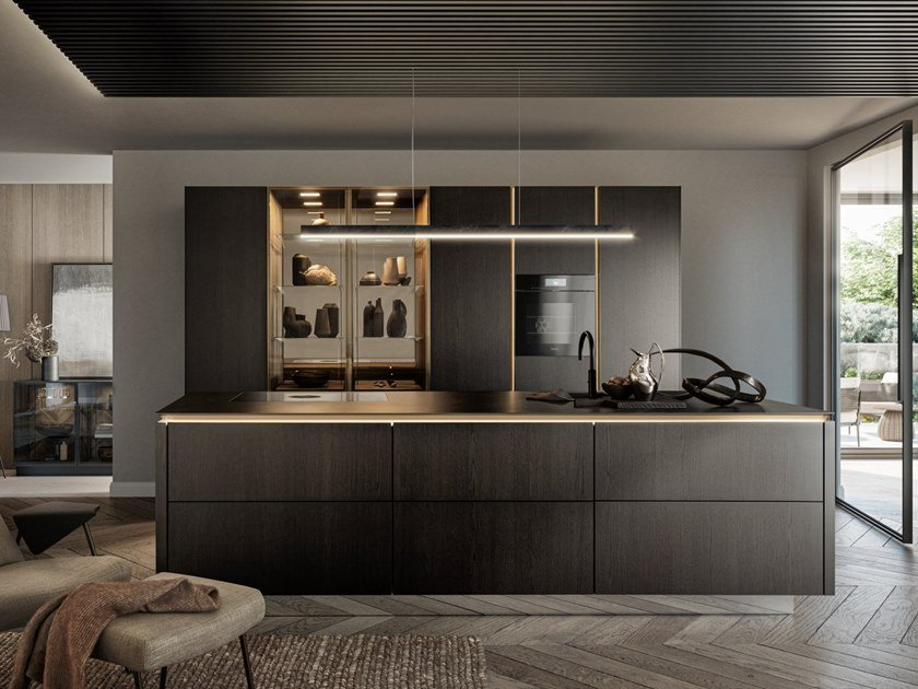 Kitchen with island without handles SieMatic SLX by SieMatic