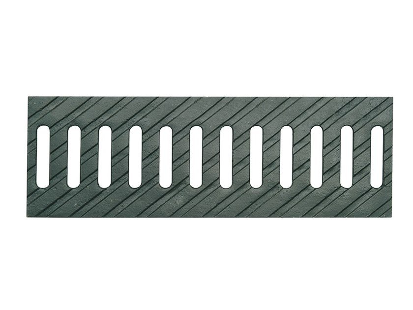 Manhole cover and grille for plumbing and drainage system Slotted grating duc.iron 100 L by Pircher