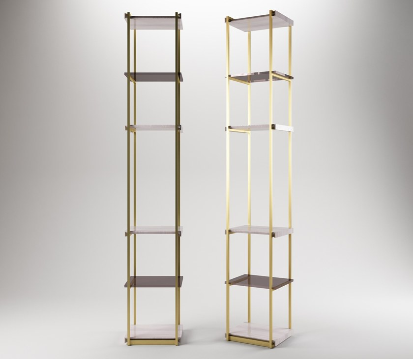 Contemporary style floor-ceiling mounted modular metal shelving unit SOCRATE by Paolo Castelli