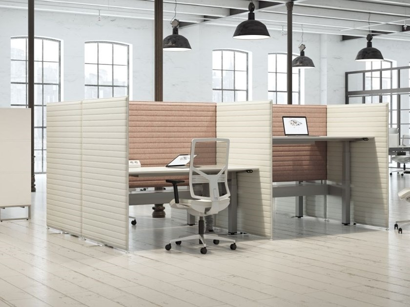 Sound absorbing workstation screen desktop partition Sound absorbing workstation screen by FURNIKO