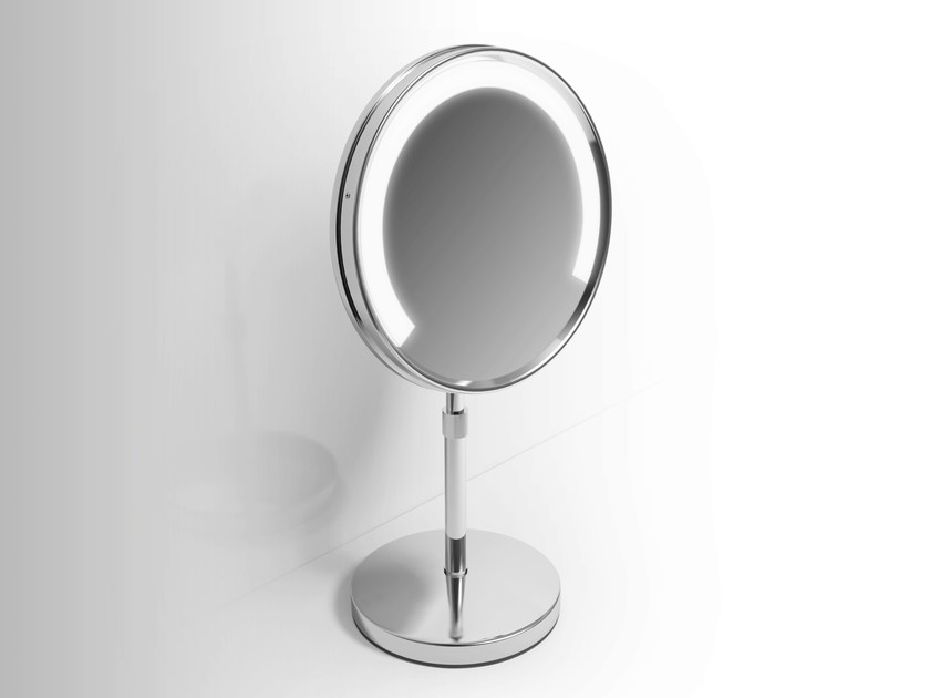 Double-sided countertop shaving mirror with integrated lighting Shaving mirror with integrated lighting by Alna