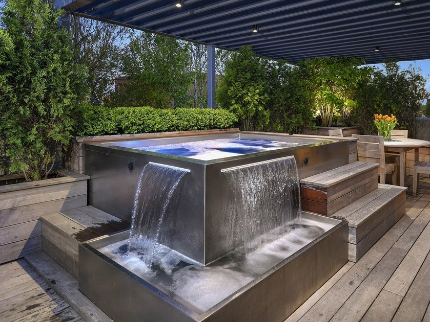 Above-ground outdoor rectangular hot tub Stainless Steel Spa with Water Features by Diamond Spas