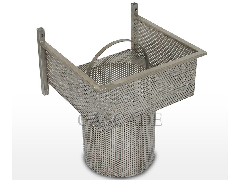 Stainless steel ground level fountains filter Stainless steel wall basket filter by CASCADE