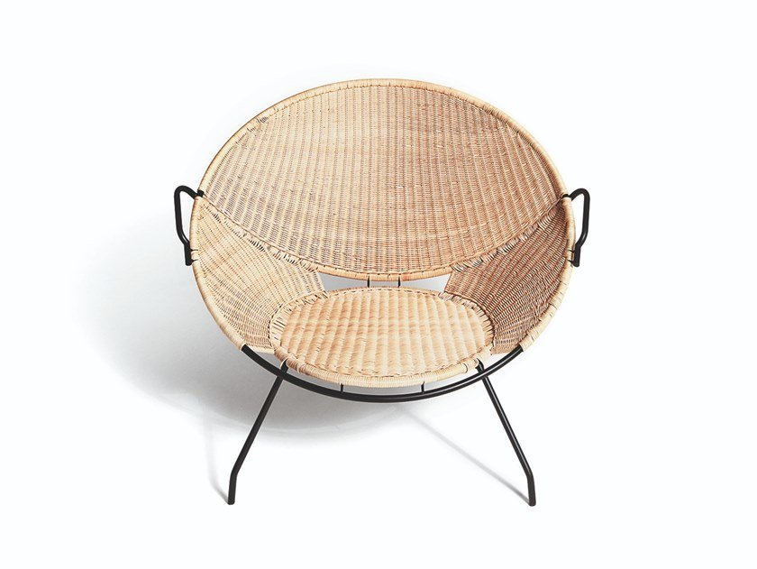 Woven wicker armchair with armrests T.54 by DE PADOVA