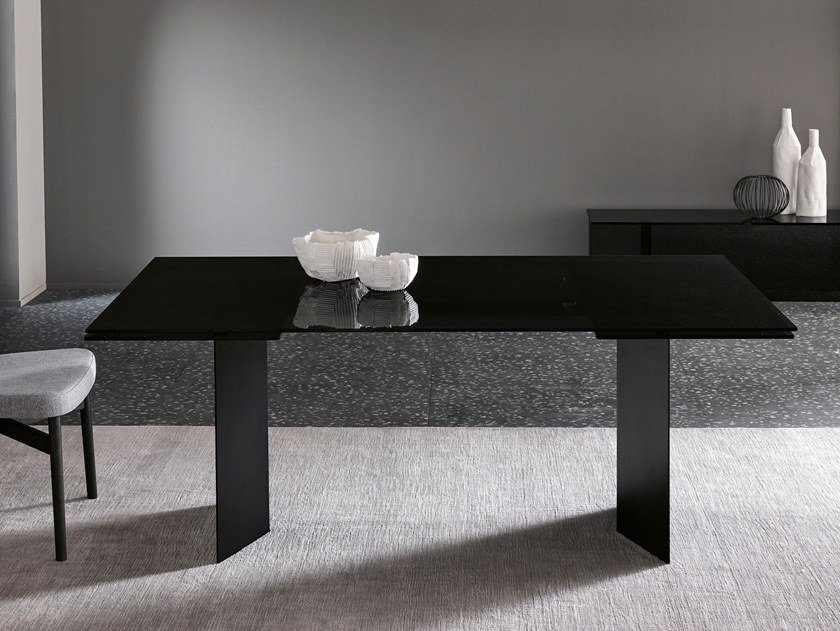 Extending rectangular glass and metal table T-AB by Tonelli Design