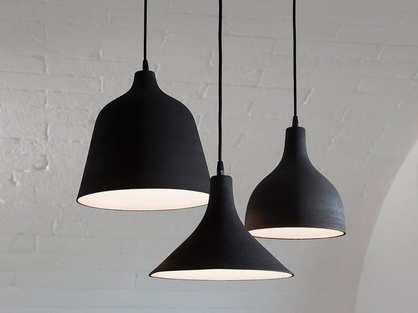 Direct light porcelain stoneware pendant lamp T-BLACK by Karman