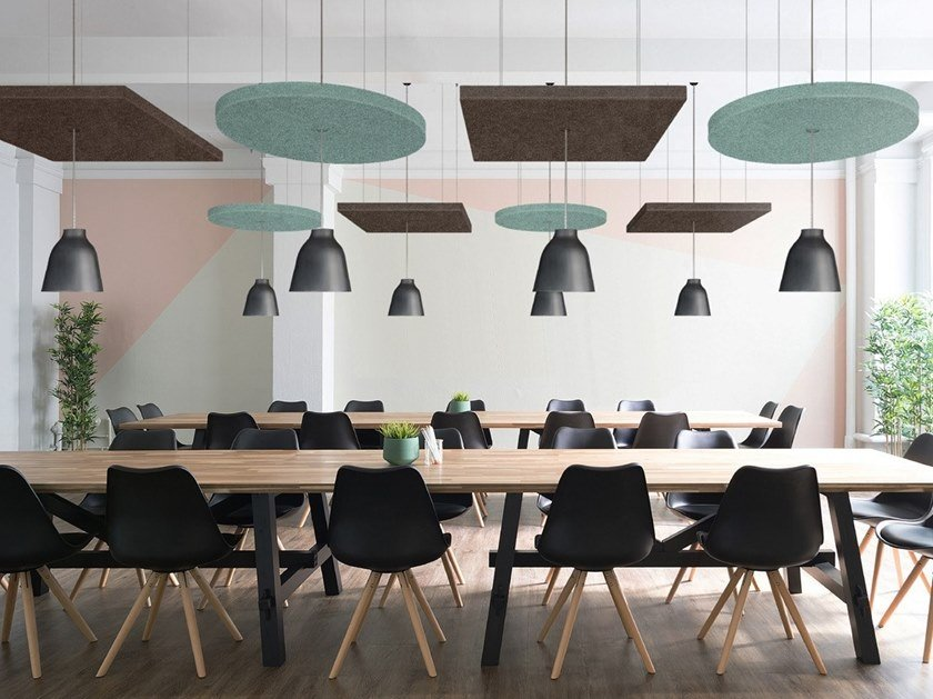 Fireproof polyester fibre acoustic ceiling clouds T-FRAME | Acoustic ceiling clouds by Slalom