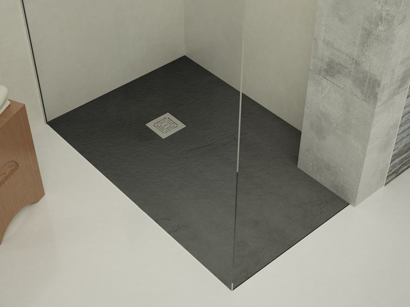 Flush fitting shower tray EVER - T-STONE Anthracite by Archiproducts.com