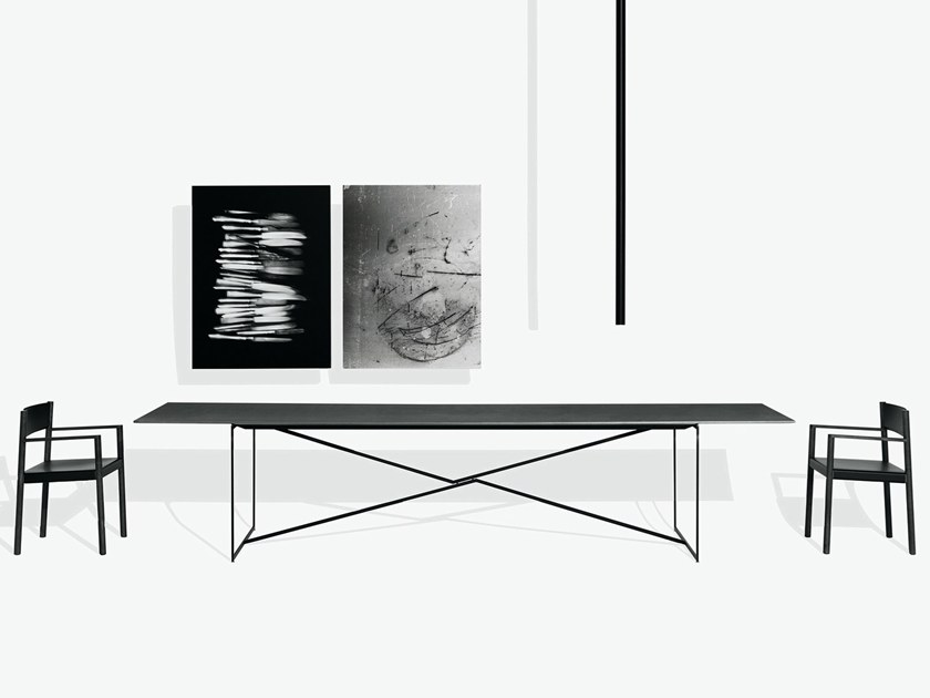 Rectangular steel and wood table T.T.A. by MA/U STUDIO