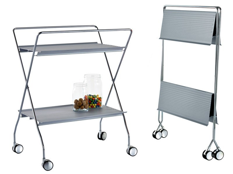 Folding extruded aluminium food trolley T-TAP by REXITE