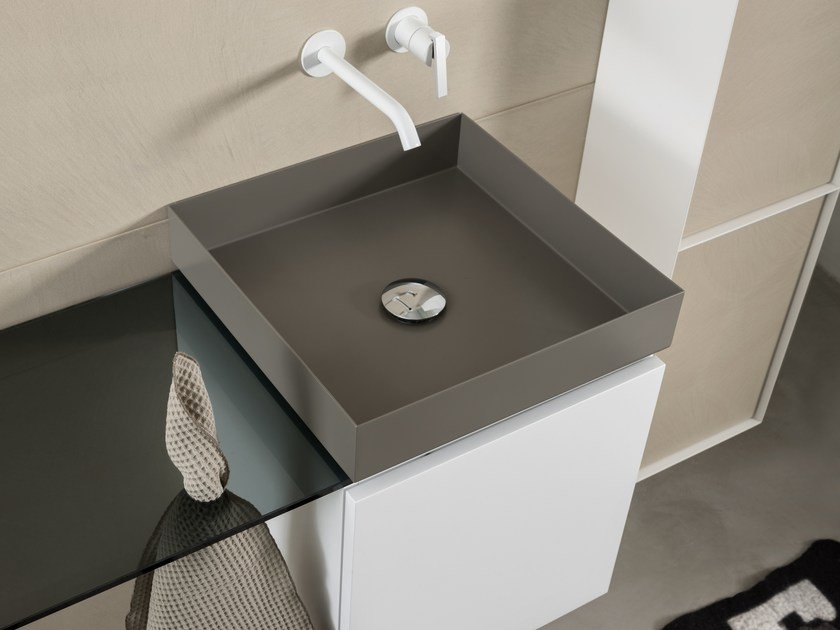 Contemporary style countertop square steel washbasin T20LM | Steel washbasin by Moab80