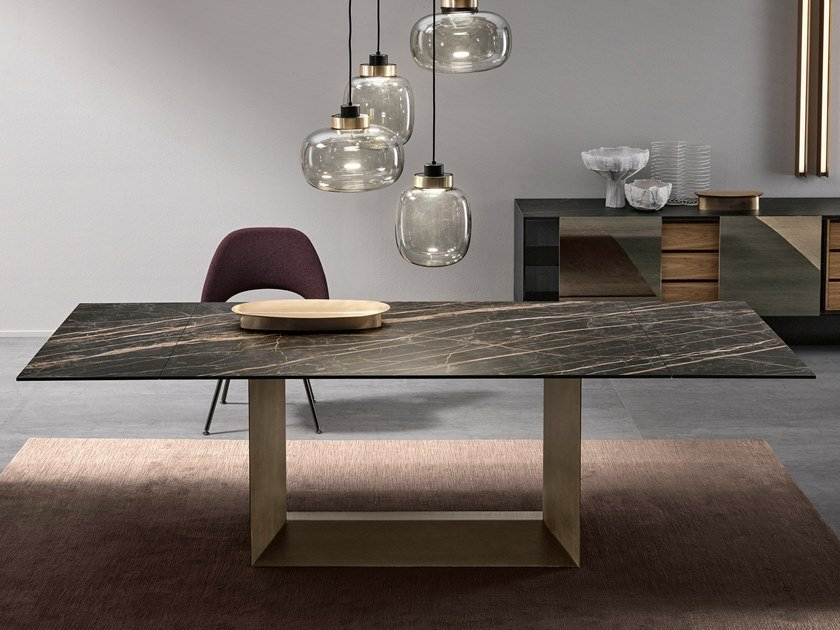 Extending rectangular ceramic and metal table T5 E by Tonelli Design