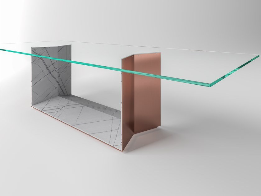 Table with glass top and base in stainless steel and marble T5_STONE by Tonelli Design