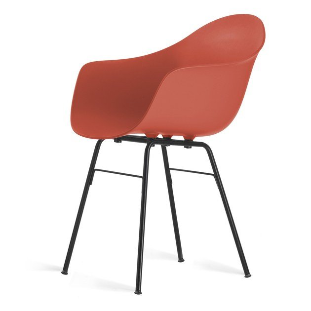 Polypropylene chair with armrests TA ER BLACK by KUBIKOFF