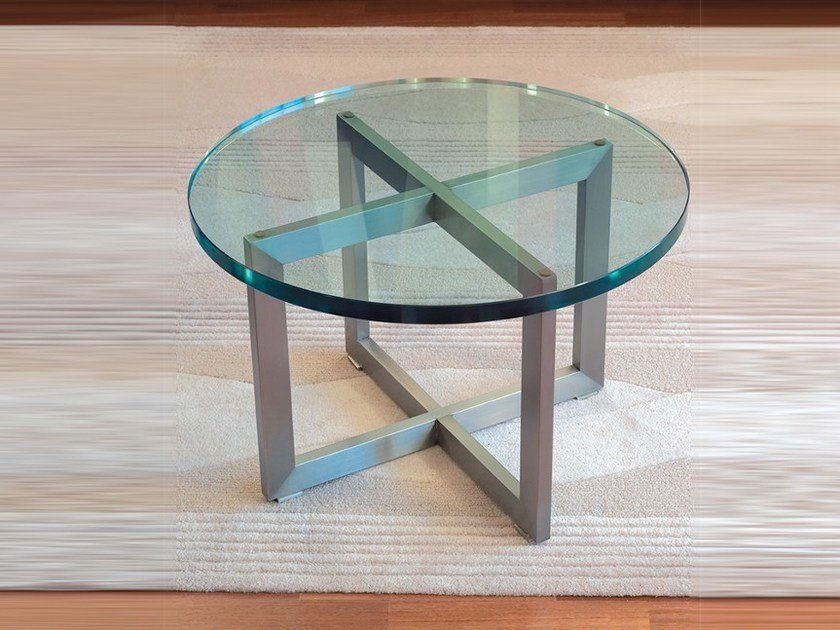 Low round glass coffee table TABLE BASSE 991 by Jean Perzel