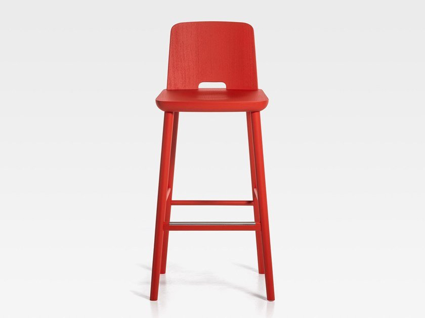 Lacquered wooden barstool with footrest TABLET | Lacquered stool by SIPA