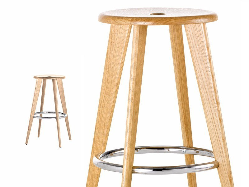 Wooden stool TABOURET HAUT by Vitra