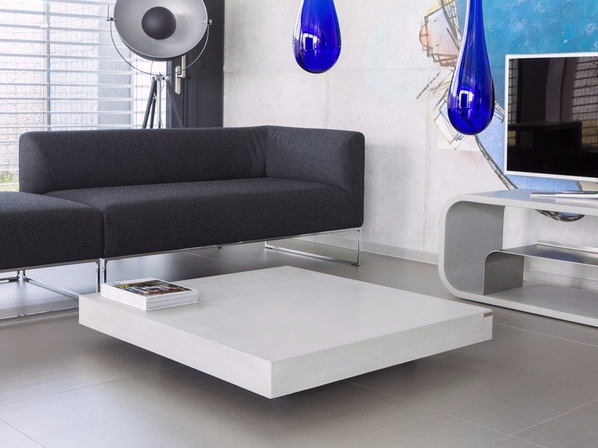 Square Concrete Coffee Table With Castors Tabula Altus By Co33